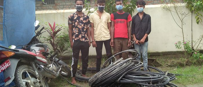 नेपाल टेलिकमको तार चोरी गरेको अभियोगमा ४ जना पक्राउ