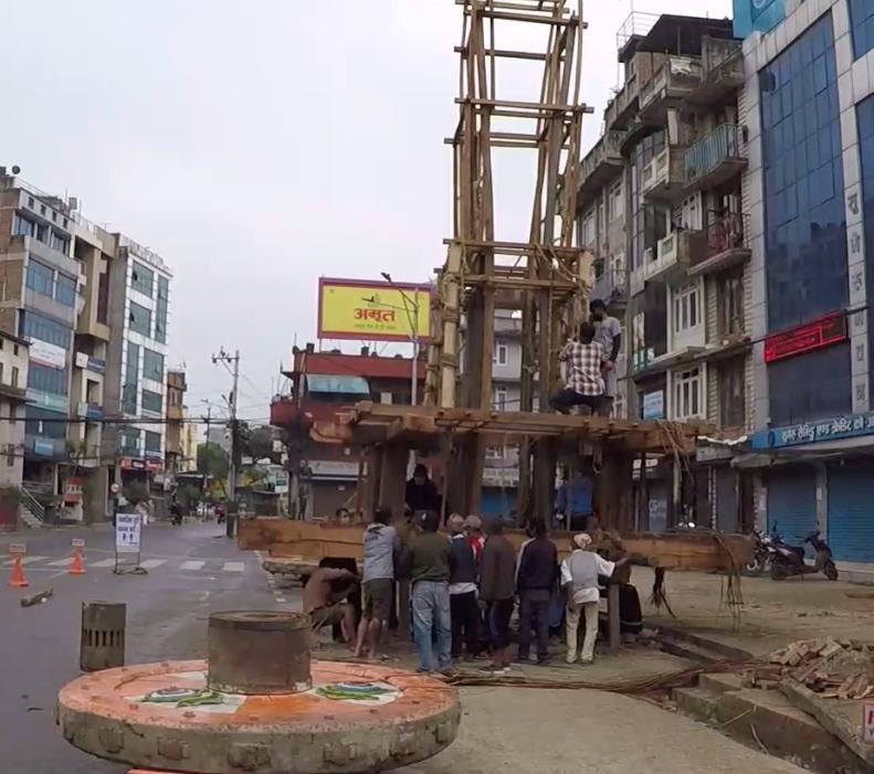 स्वास्थ्य सावधानी अपनाउँदै रातो मच्छिन्द्रनाथको रथ निर्माण कार्य जारी
